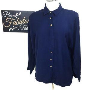 Vintage Mirrors Navy Blue Button Down Shirt